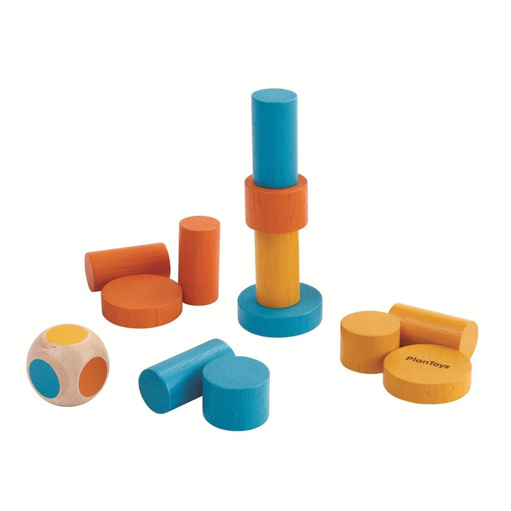 Plan Toys Children's Portable Mini Block Stacking Game Set multicolored