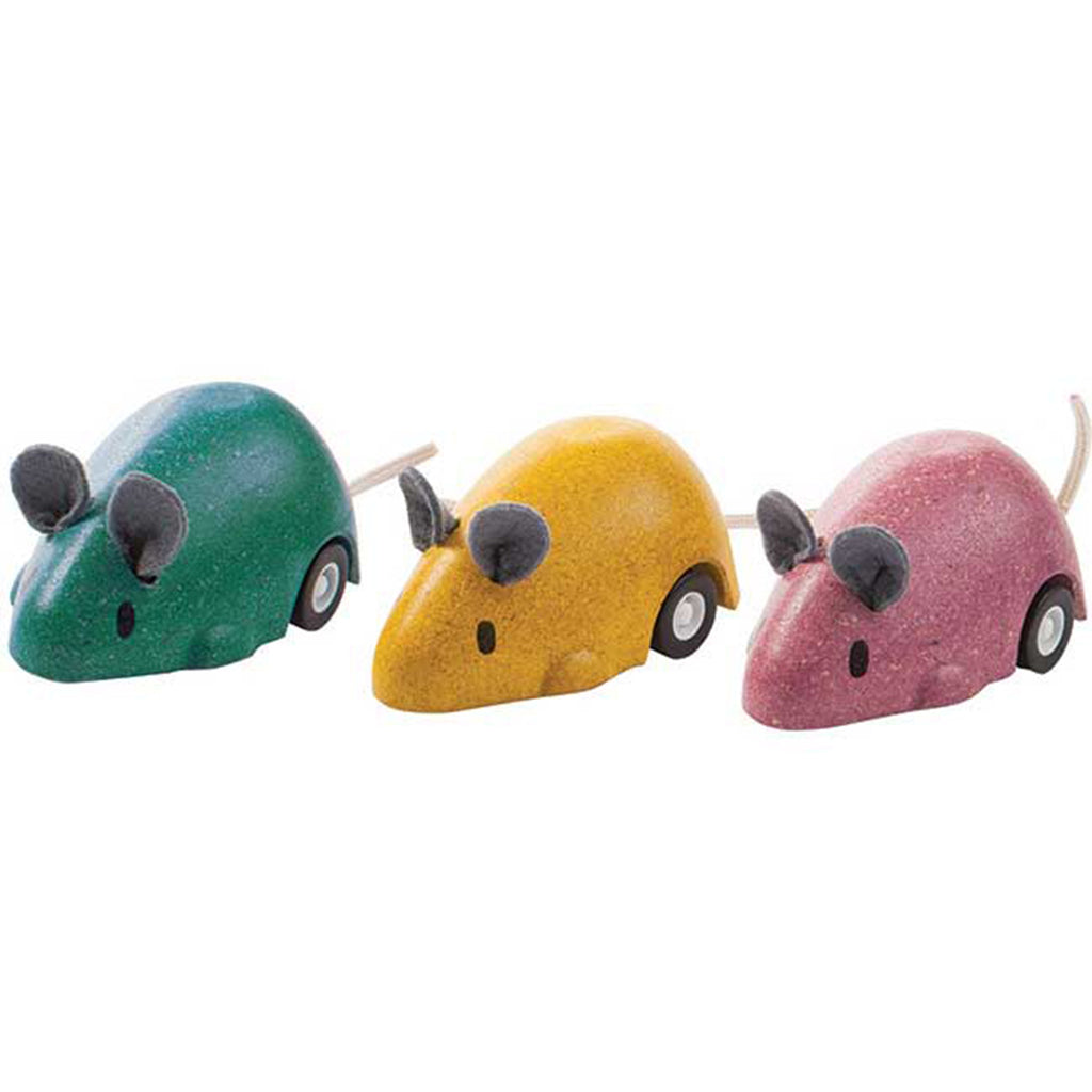 Plan Toys Children's Wooden Gear Box Propelled Moving Mouse Set multicolored green yellow pink