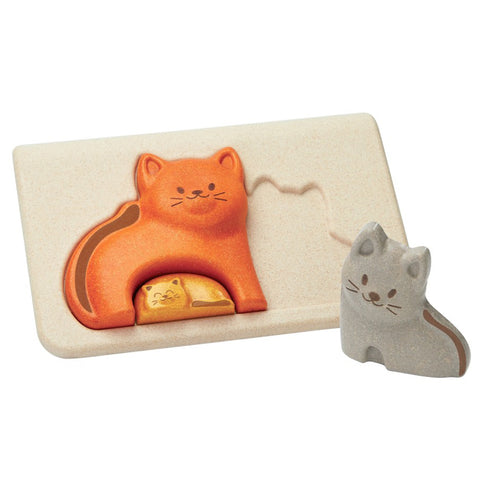 Plan Toys Children's Early Development Cat Puzzle Board orange grey smiling