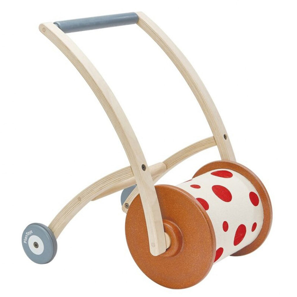 Plan Toys Infant Baby Wooden Roll n' Walk Push Along & First Step Toy white red polkadot