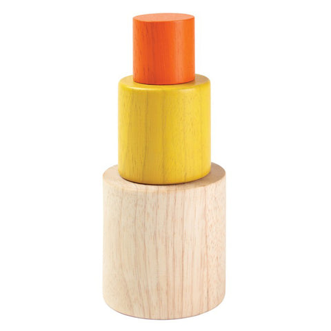 Plan Toys Infant Baby Wooden Nesting Cylinder Stacking Toy Set beige natural yellow orange