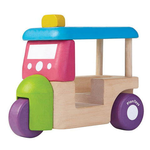 Plan Toys Children's Pretend Play Toy Vehicle Tuk Tuk Cart Car multicolored