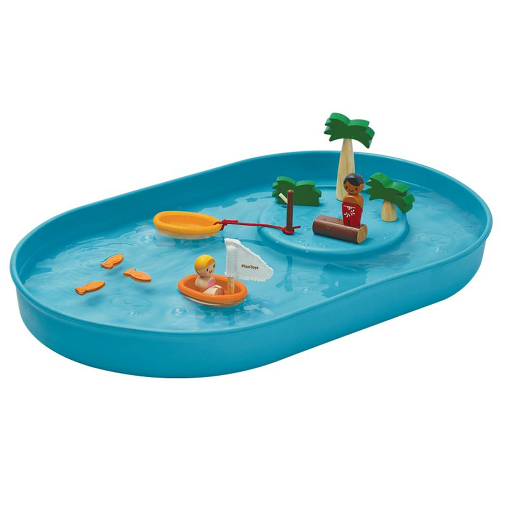 Plan Toys Children's Outdoor Wooden Water Play & Figurine Set blue