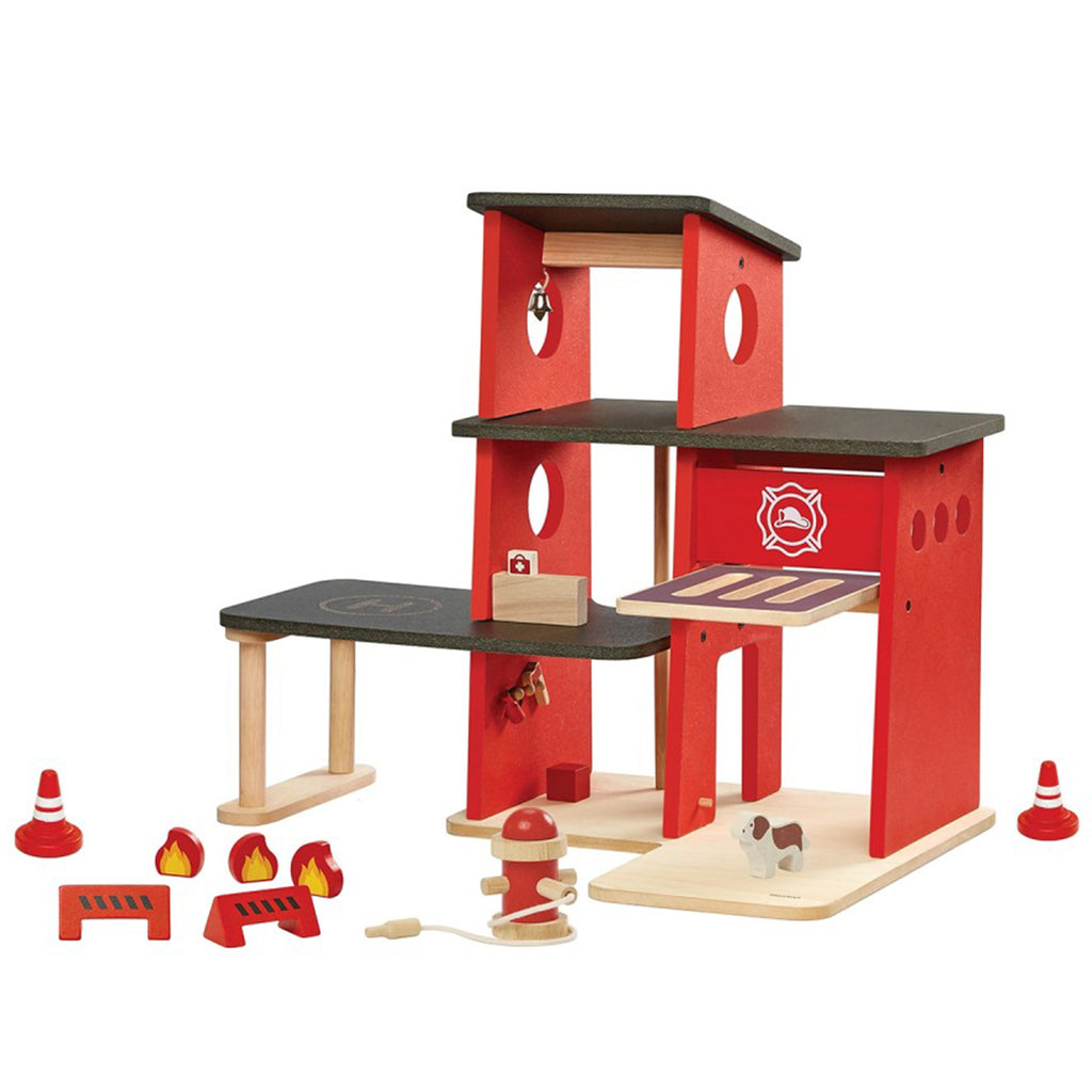 Plan Toys Children's Wooden Pretend Play Fire Station Toy Set red