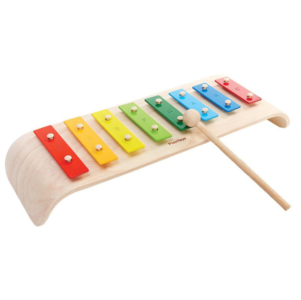 Plan Toys Children's Wooden Melody Xylophone Musical Instrument Toy multicolored rainbow metal true notes scale