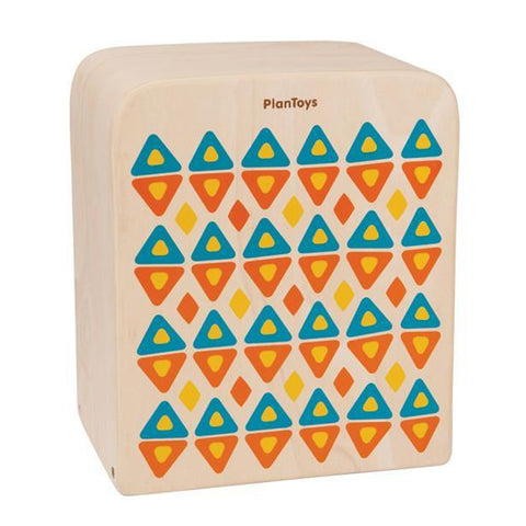 Plan Toys Children's Wooden Rhythm Box II Musical Instrument Drum Toy orange blue yellow beige natural