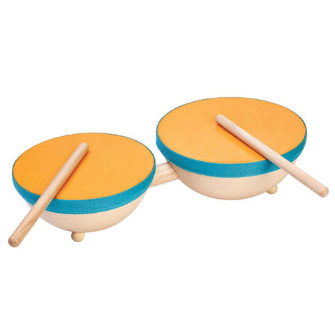 Plan Toys Children's Rubber Wood Double Drum Musical Toy Set  orange blue teal beige natural