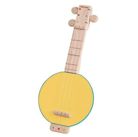 Plan Toys Children's Wooden Banjolele Musical Instrument Toy yellow green beige strings