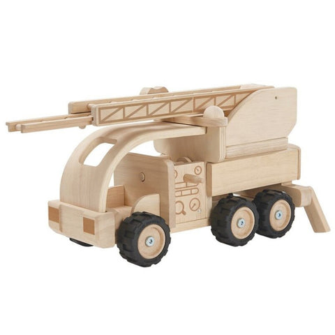 Plan Toys Fire Truck Children's Pretend Play Wooden Toy Vehicle natural beige