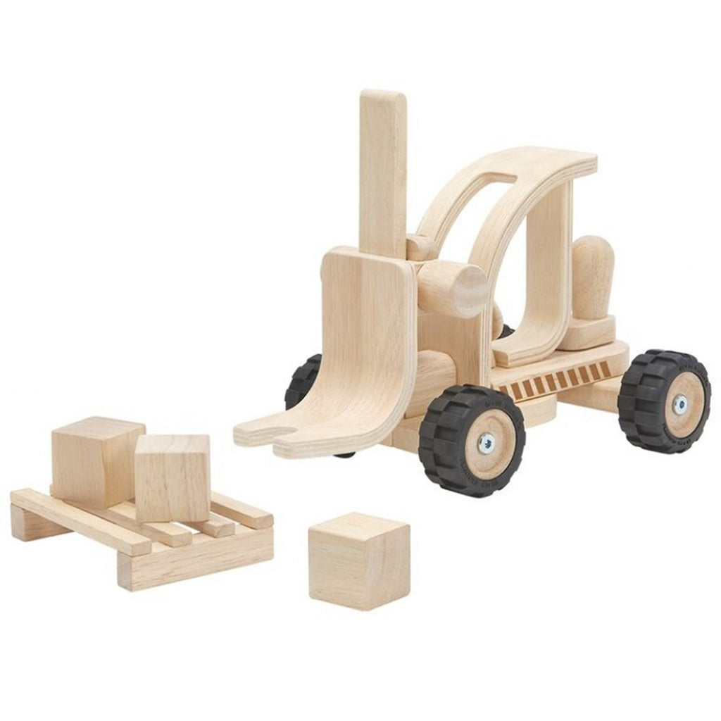 Plan Toys Fork Lift Children's Pretend Play Wooden Toy Vehicle  natural beige