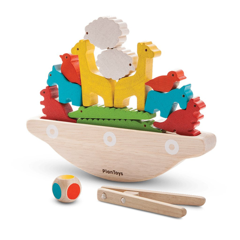 Plan Toys Balancing Boat Children's Stacking Game Set multicolored animals ark