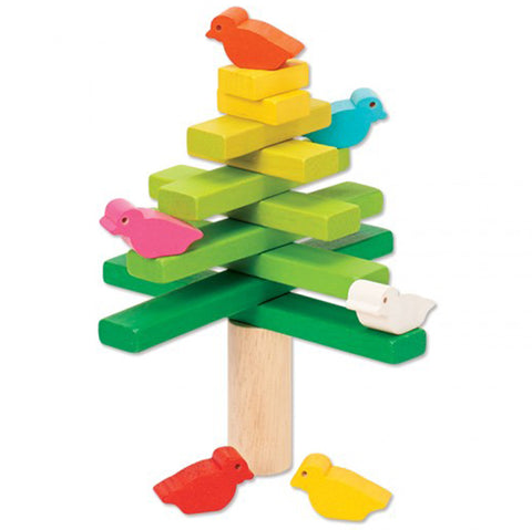 PlanToys Balancing Tree Children's Game Set  multicolored birds green yellow blocks