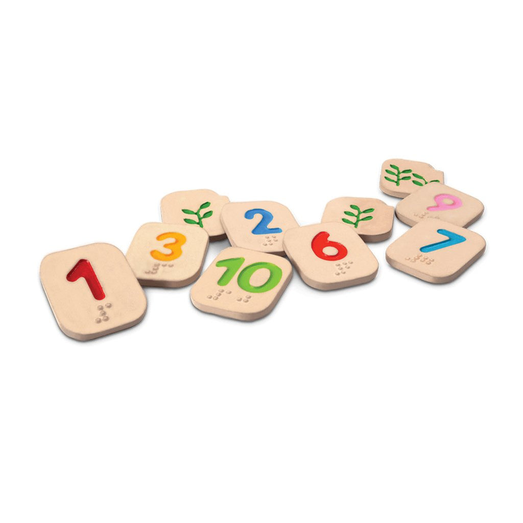 Plan Toys Braille Numbers 1-10 Children's Basic Counting Skills Set multicolored