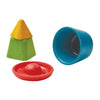 lifestyle_1, Plan Toys Creative Sand Play Children's Water Set Outdoor Toy four molds red donut blue bucket yellow pyramid green square