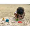 lifestyle_5, Plan Toys Creative Sand Play Children's Water Set Outdoor Toy four molds red donut blue bucket yellow pyramid green square