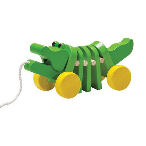 PlanToys Dancing Alligator Wooden Pull-Along Toy green yellow wheels