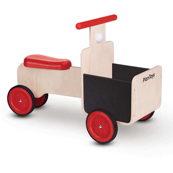 Plan Toys Delivery Bike Children's Wooden Rideable Vehicle Toy red wheels handlebar black detail