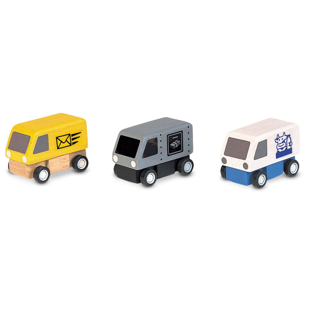 Plan Toys Delivery Vans 3-Pack Children's Pretend Play Toy Vehicles Set mail money and milk trucks