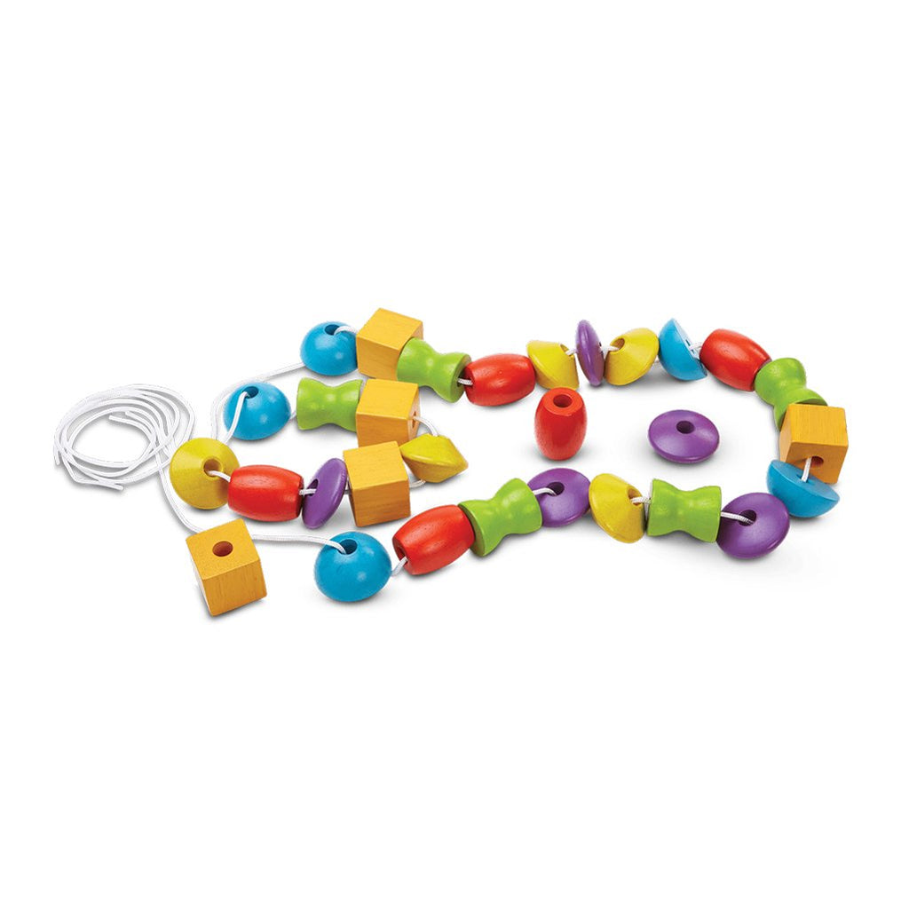 Plan Toys Lacing Beads 30 Children's Wooden Activity Toy multicolored shapes