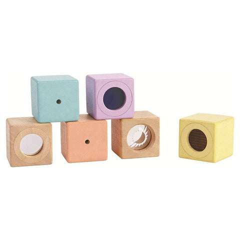 PlanToys Wooden Sensory Blocks for Children multicolored pastel