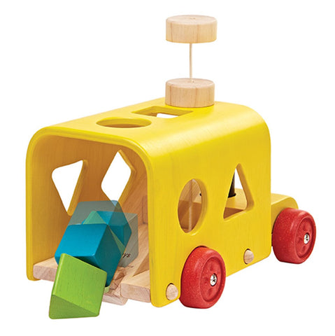 lifestyle_1, Plan Toys Sorting Bus Children's Push & Pull Early Development Toy yellow multicolored shaped blocks