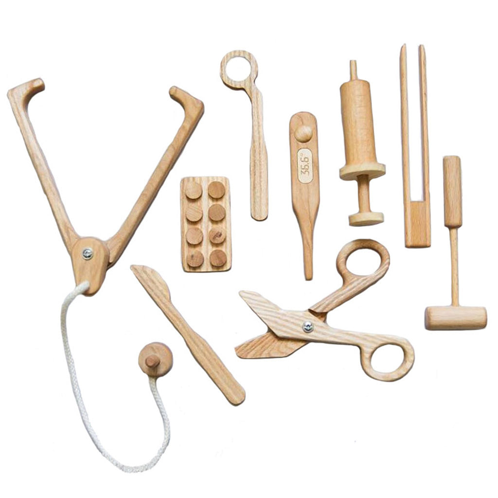 Poltora Stolyara Wooden Doctor Set Children's Pretend Play Toys natural beige