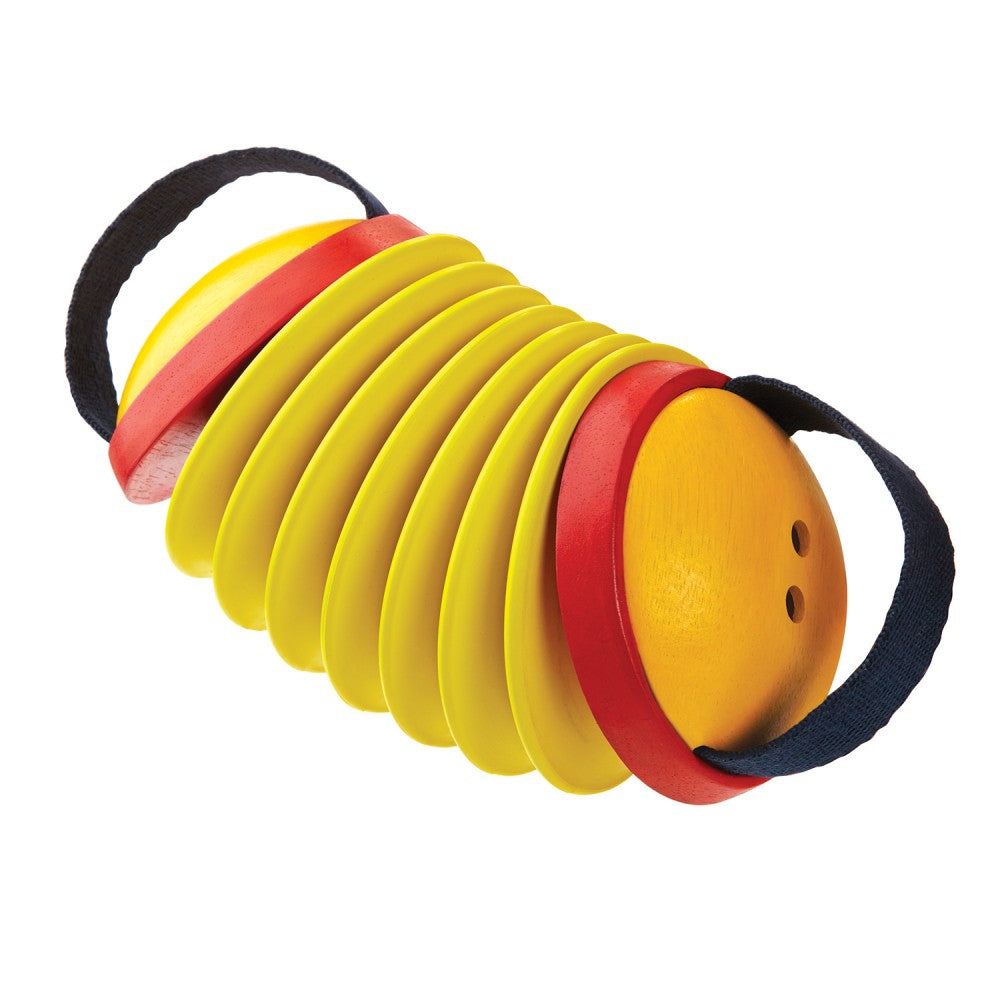 PlanToys Wooden Concertina Percussion Musical Toy yellow red black straps