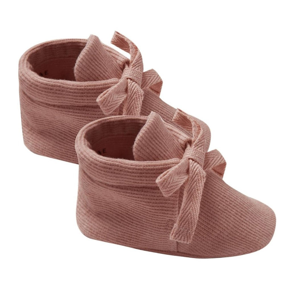 Quincy Mae 100% Organic Ribbed Jersey Tie-Up Infant Baby Bootie Shoes clay red neutral