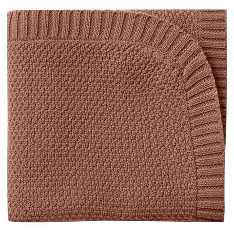 Quincy Mae Chunky Knit 100% Organic Cotton Infant Baby Blanket clay red