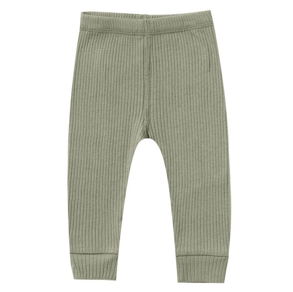 Quincy Mae Organic Cotton Ribbed Infant Baby Legging Bottoms moss green