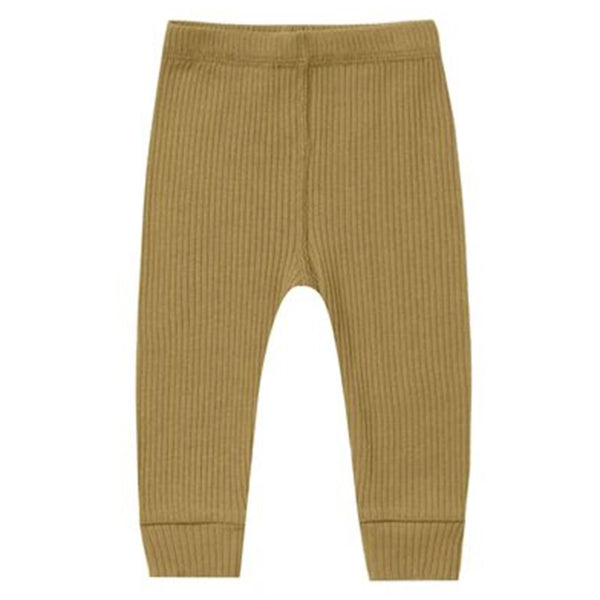 Quincy Mae Organic Cotton Ribbed Infant Baby Legging Bottoms ocre dark yellow