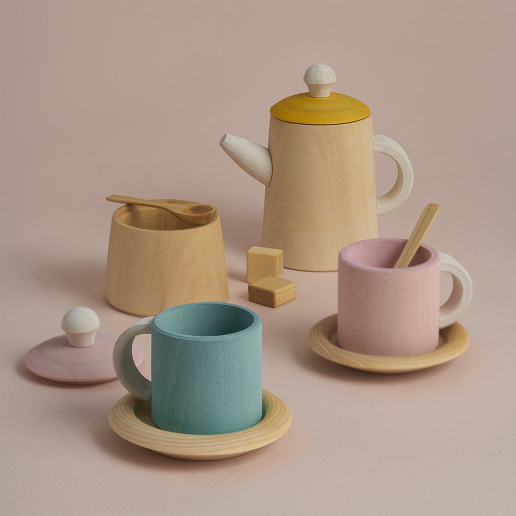 Raduga Grez Wooden Tea Set Children's Pretend Play Kitchen Toy mustard yellow pink pastel