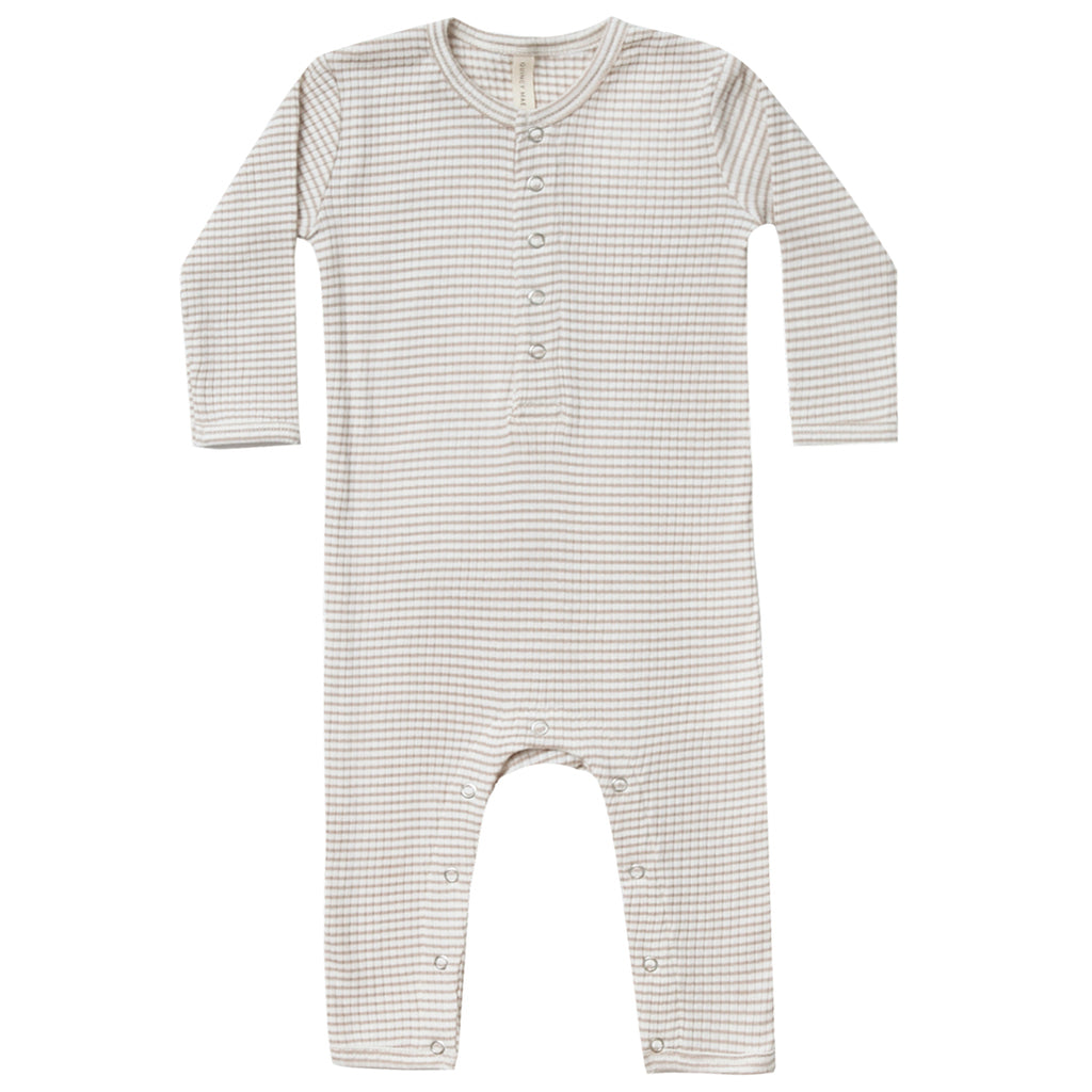 Quincy Mae Organic Cotton Ribbed Infant Baby Jumpsuit One-Piece fog stripe light grey white