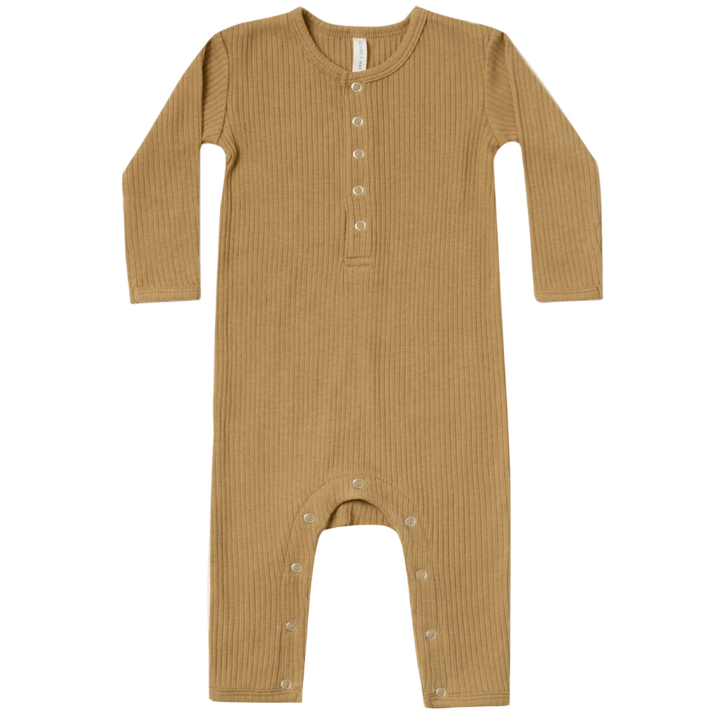 Quincy Mae Organic Cotton Ribbed Infant Baby Jumpsuit One-Piece ocre dark yellow brown