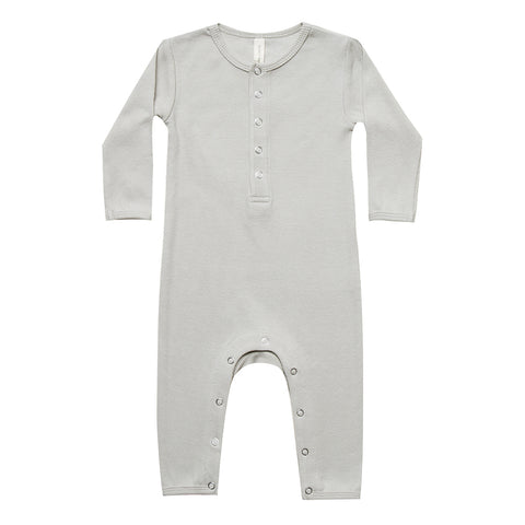 Quincy Mae Organic Cotton Ribbed Infant Baby Jumpsuit One-Piece ash light grey