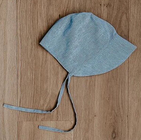 The Simple Folk Old Fashioned Bonnet Organic Linen Infant Baby Hat french stripe blue white