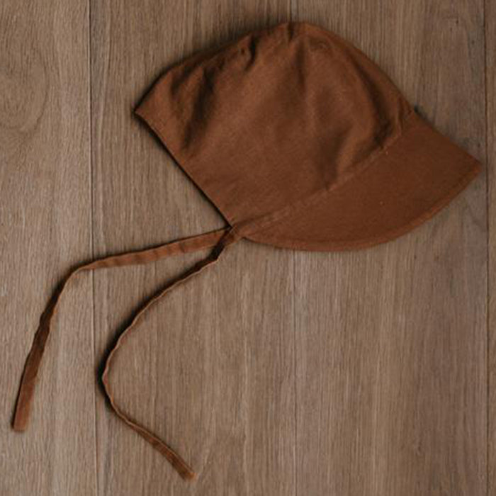 The Simple Folk Old Fashioned Bonnet Organic Linen Infant Baby Hat rust burnt orange