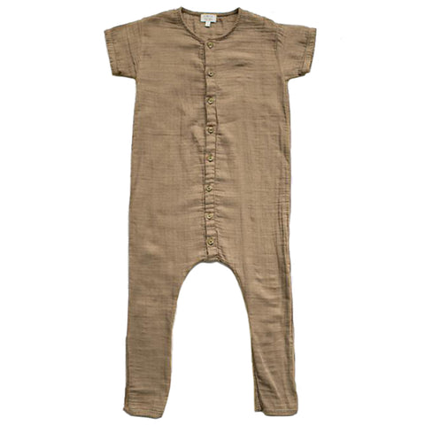 The Simple Folk Archer Playsuit Organic Cotton Infant Baby Romper camel beige brown