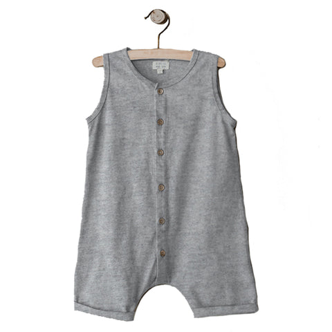 The Simple Folk Beach Bum Playsuit Organic Cotton Baby Romper Jumpsuit grey melange