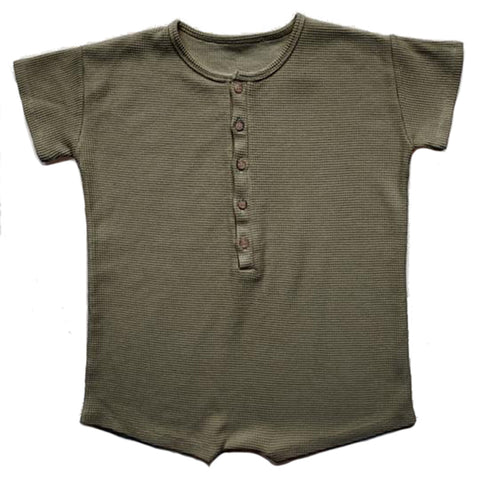 The Simple Folk Explorer Playsuit Organic Cotton Baby Romper Jumpsuit olive green