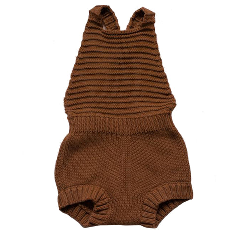 The Simple Folk Knit Romper Organic Cotton Baby Playsuit Jumpsuit rust burnt orange
