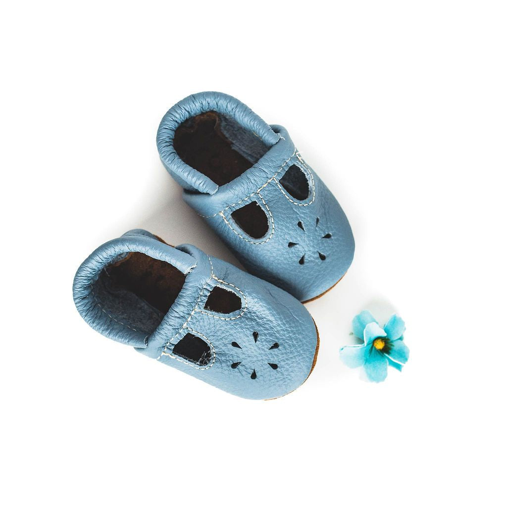 Starry Knight Design Baby Leather T-Strap Shoes big sky blue light