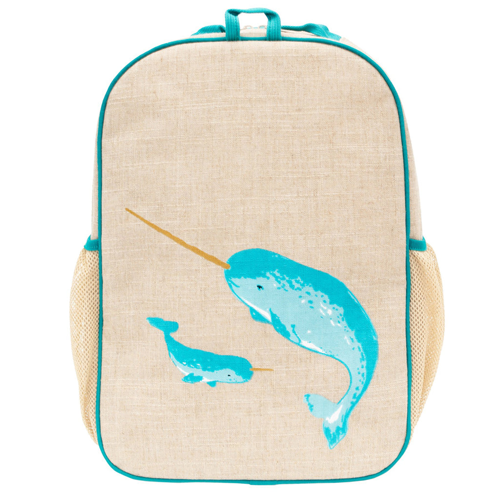 SoYoung Teal Narwhal Grade School Children's Backpack Bag light blue