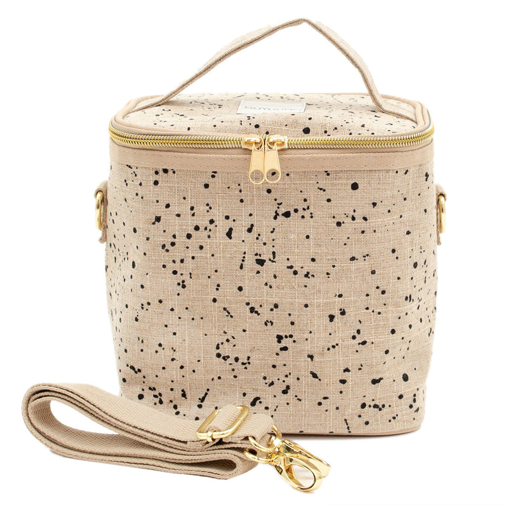 SoYoung Black Splatter Poche Children's Lunch Box beige linen
