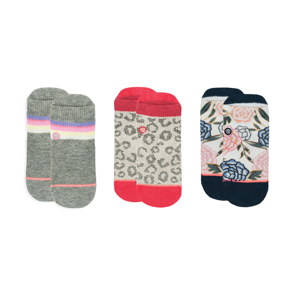 Stance Infant Baby Girls Sock Box Set pattern 3 pack rosie posie floral stripe block pink grey red black