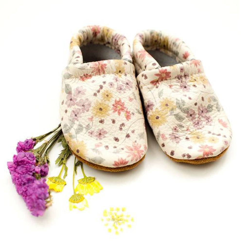 Starry Knight Design Autumn Floral Baby Leather Loafers multicolored light flowers