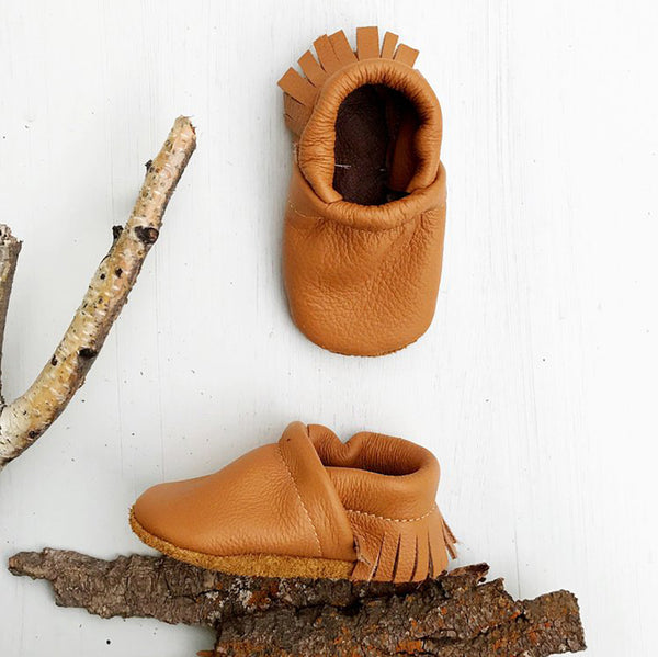 Starry Knight Design Baby Leather Moccasins camel orange brown