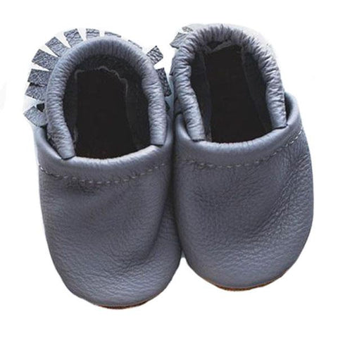 Starry Knight Design Smoke Baby Leather Moccasins light slate blue