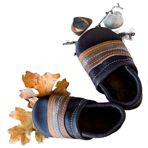 Starry Knight Design Baby Leather Shoes with Design retro stripe ebony dark black brown neutral