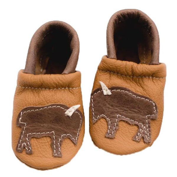 Starry Knight Design Baby Leather Shoes with Design tan bison brown